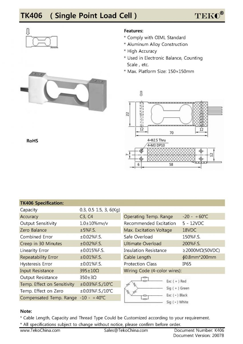 Tk406 Single Point Load Cell Teko Precision Technology Co Ltd 4 Wire Wiring Quick Navigation
